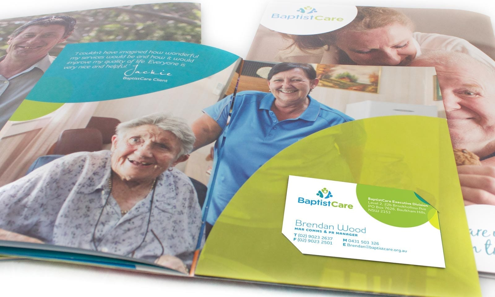Literature design sydney, BaptistCare collateral and stationary branding.