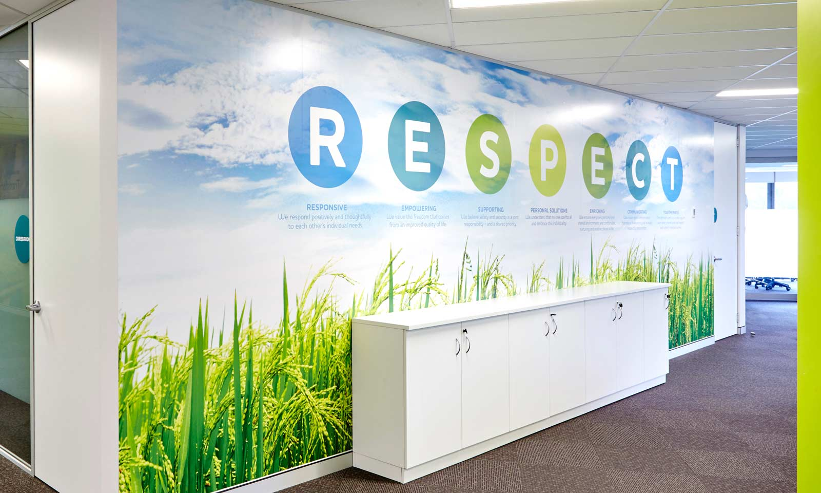 Sydney branding company interiors, BaptistCare RESPECT values internal signage part of the branded environment.