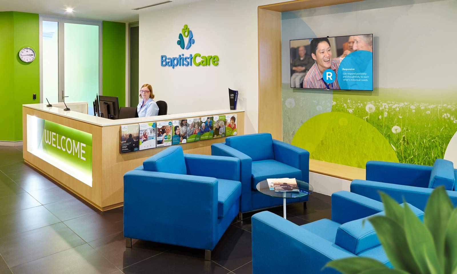 Sydney branding company interiors, BaptistCare staff reception area.