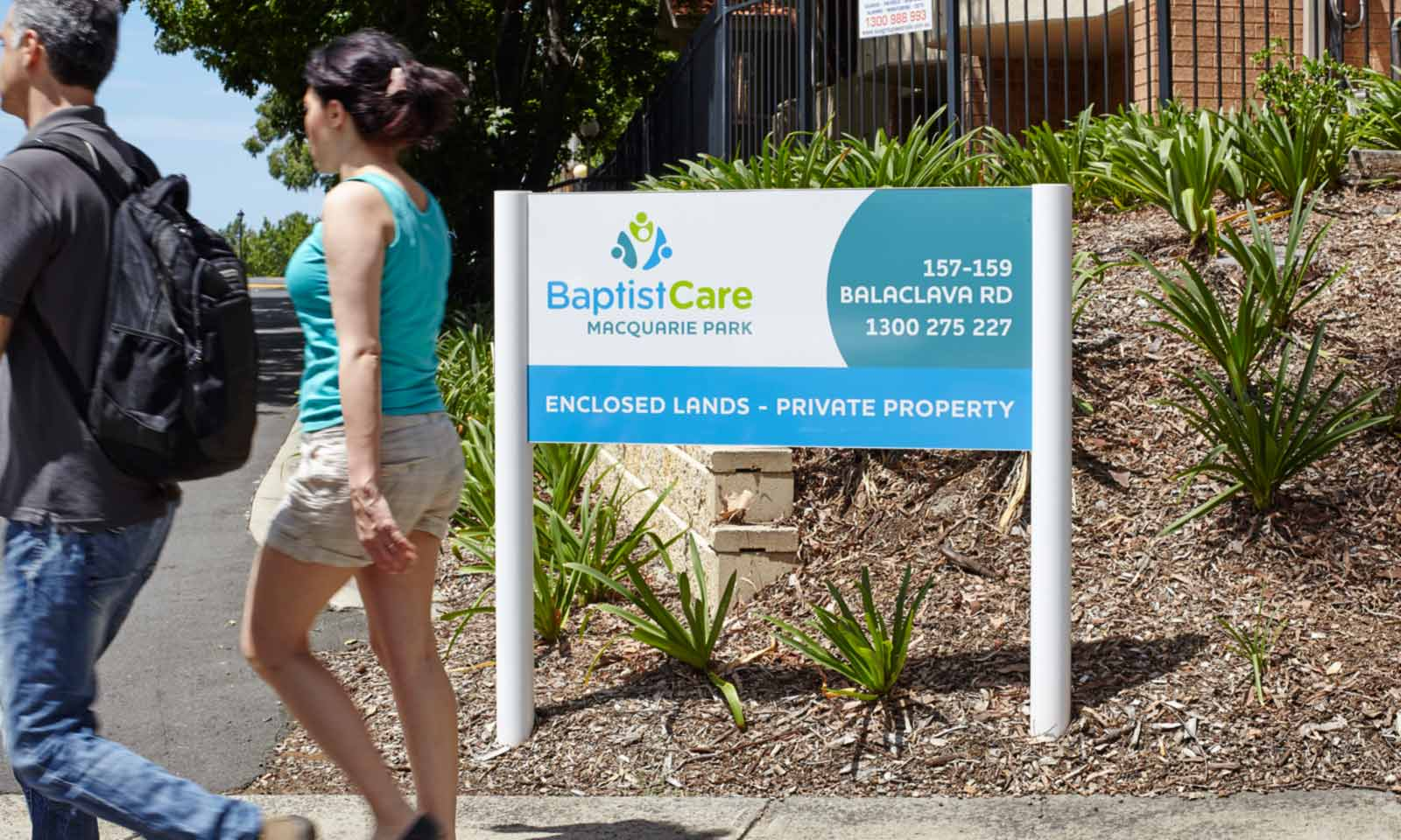 Sydney way finding design, BaptistCare branded way-finding system.
