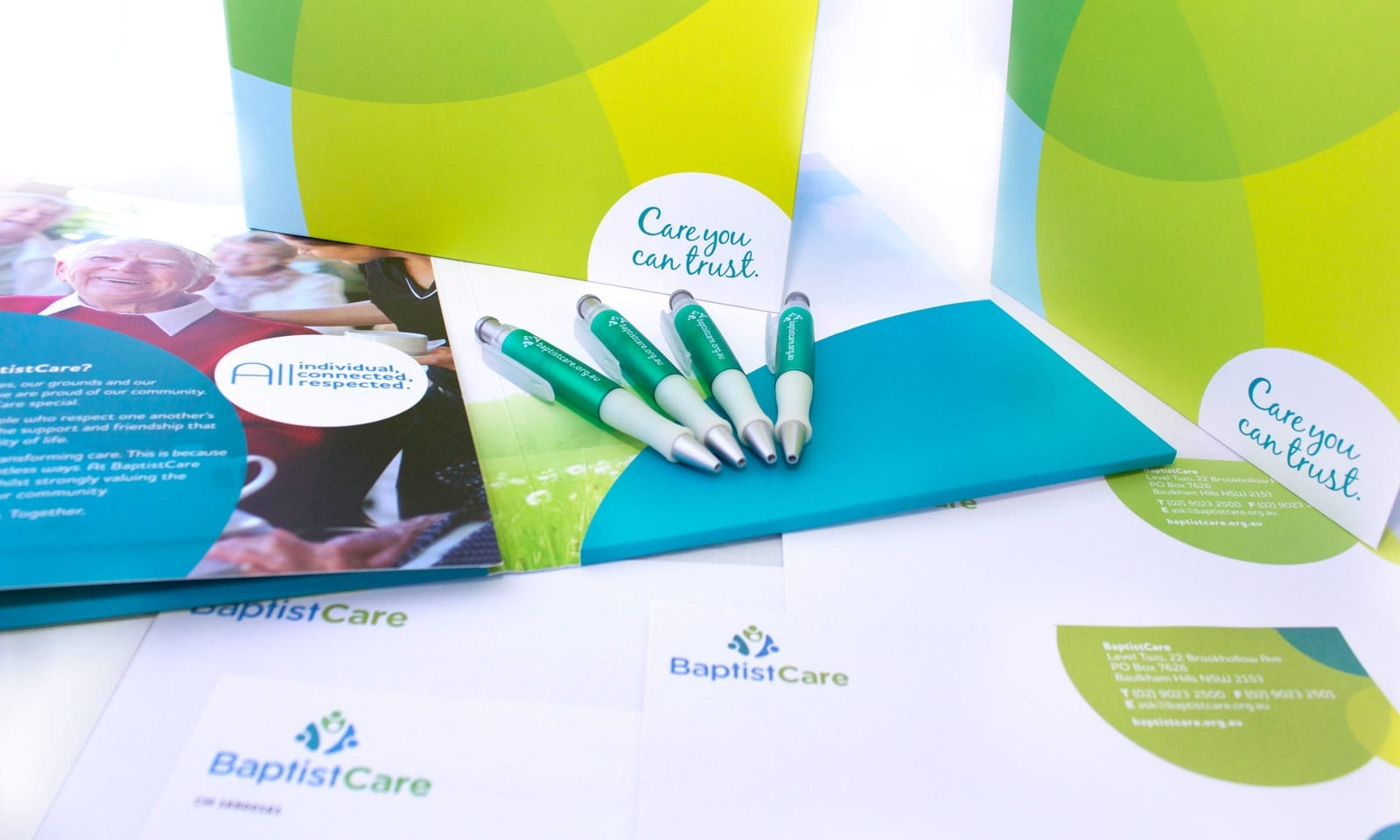 Literature design sydney, BaptistCare stationary redesign.