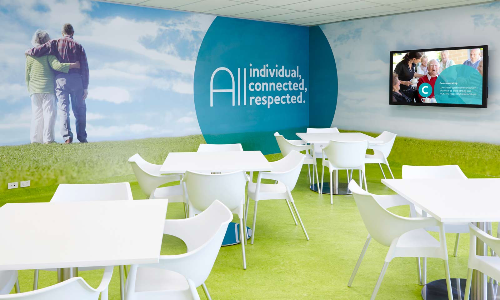 Sydney branding company interiors, BaptistCare staff common area.
