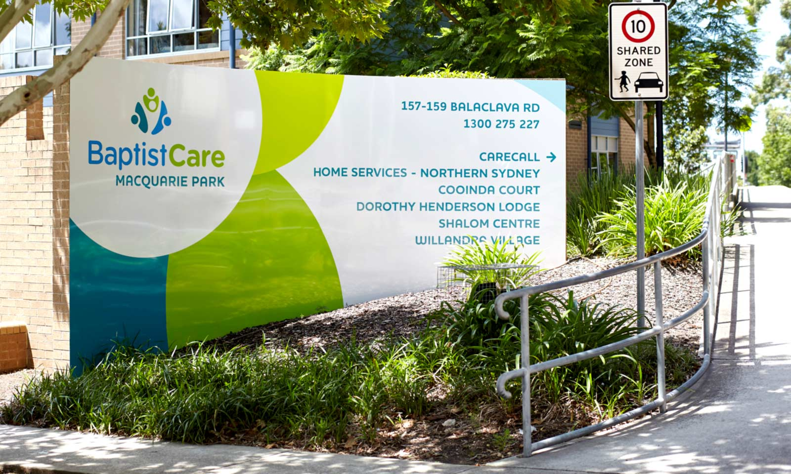 Sydney way finding design, BaptistCare welcome directional signage part of the way-finding system.