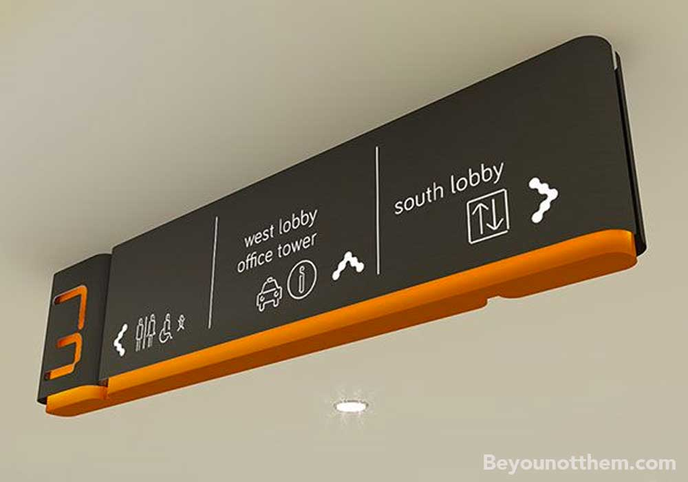 Wayfinding signage directs visitors to where they need to be in your brand's tone of voice