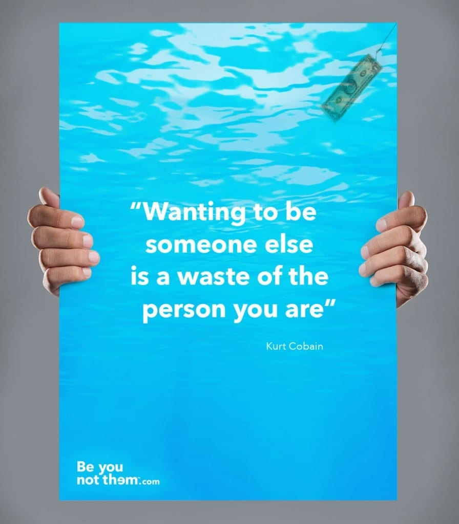 Be you quotes, branding agency poster designs, Kurt Cobain